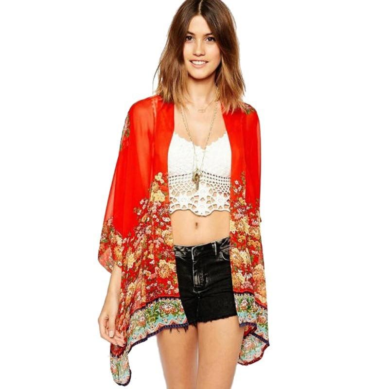Moda del verano del estilo Vintage Flower Print Red gasa blusa floja de la gasa