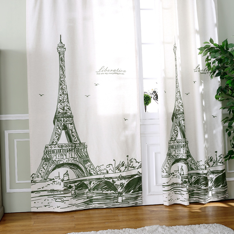 NEW arrival 130x260cm S hooks tower linen cotton 3d window curtains for living room luxury curtains for bedroom