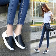 2016 Fall New Female Casual Loafers PU Students Girls Mixed Colors Flats Shoes Black& White Adult Footwear