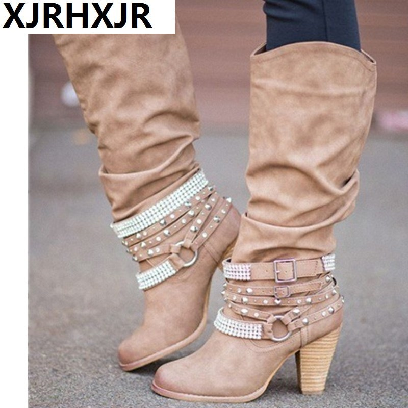 82276805cd2 Brand Ladies Western Cowboy High Heels Motorcycle Pu Leather Boots Shoes  35-43 Women Long Rivets Bukle Thick Heels Boots Shoes