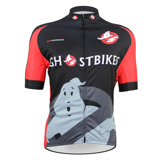 bfd14fc8a Free shipping Ghost Busters Men Polyester Short sleeve Cycling Jersey Black  Breathable Full Zipper Bike Shirt Size XXS TO 5XL