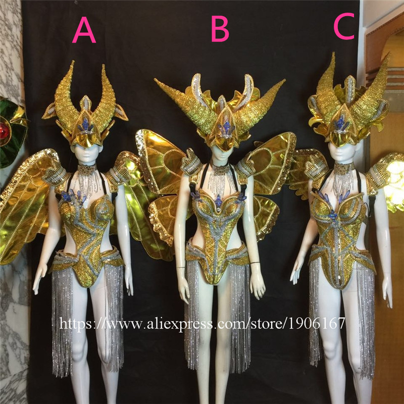 Bar ballroom dance led costumes dress bellydance butterfiy wings colorful led wear clothes stage dj sexy led bra 9