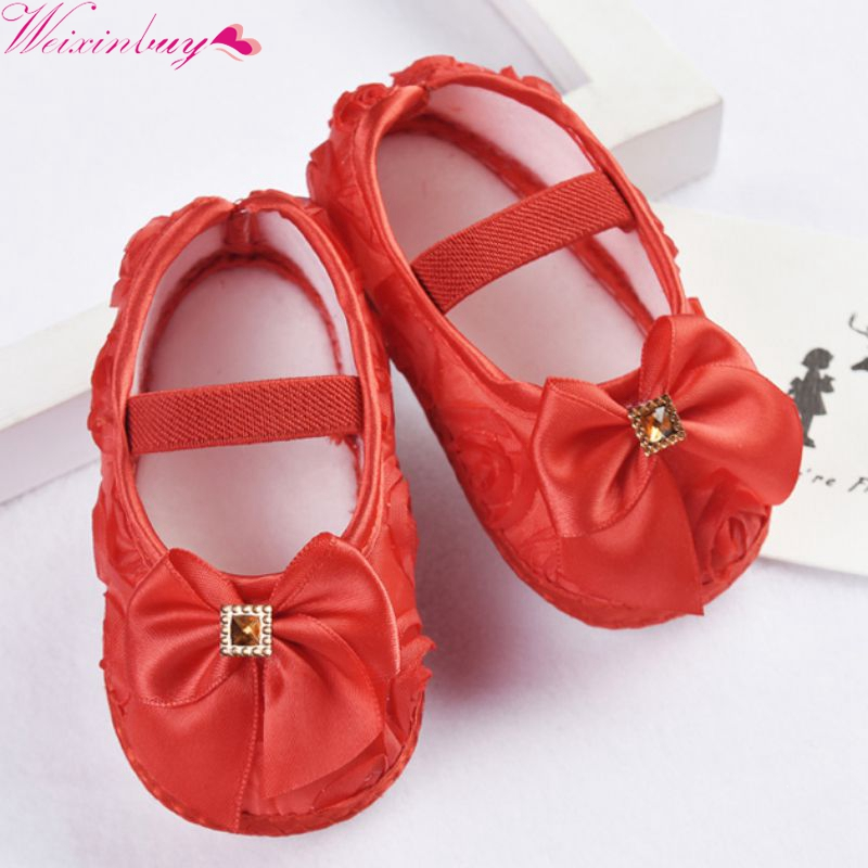 Baby Girl Shoes First Walkers Toddler Prewalker Shoes Rose Flowers Bow Princess Newborn Baby Soft Sole Shoes