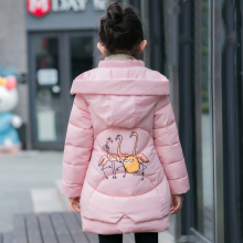 3 9T kids girl winter jacket thicken warm hooded children outerwear coat cotton padded girl down