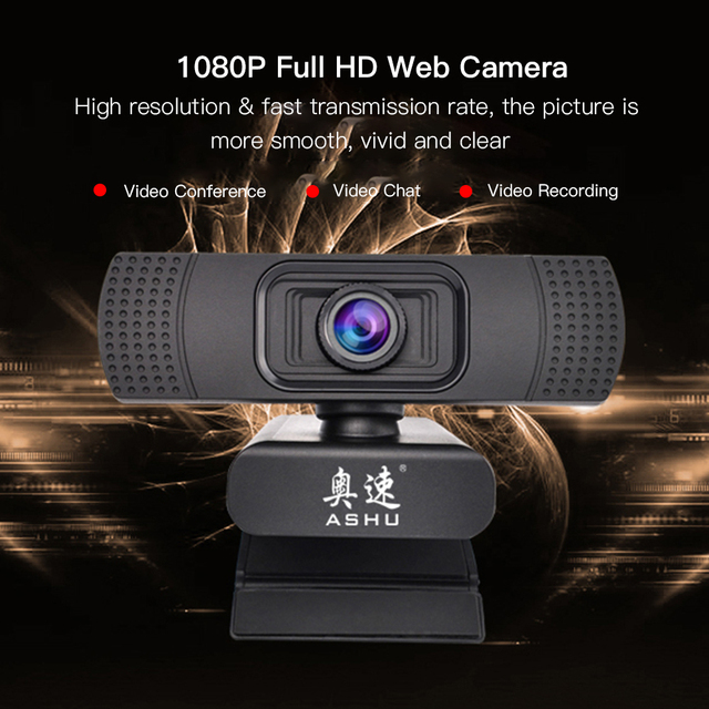 USB 2.0 Web Digital Camera Webcam Full HD 1080P Webcams with Microphone Clip-on 2.0 Megapixel CMOS Camera Web Cam for Computer 1