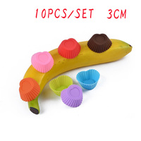 10pcs/set 3CM Mold Pudding Cupcake Muffin Cup Shape Lollipops Jelly Tools Cake Decoration Silicone Baking Mat Baking Tools Cakes