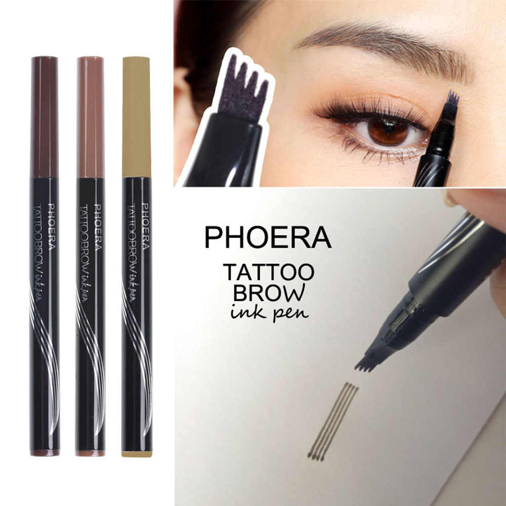 PHOERA 3D Microblading 眉毛タトゥーペン 4 フォークヒント罰金スケッチ自然な眉ペンシル防水長期的な眉毛色合い TSLM2