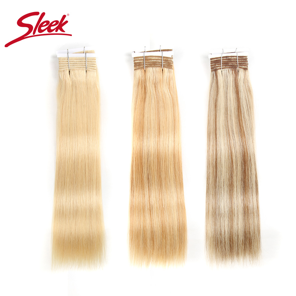 Sleek Pre-colored Brazilian Yaki Straight Remy Human Hair Weave Bundles 113 Gram Ombre Blonde Color 613 P6/613 P27/613