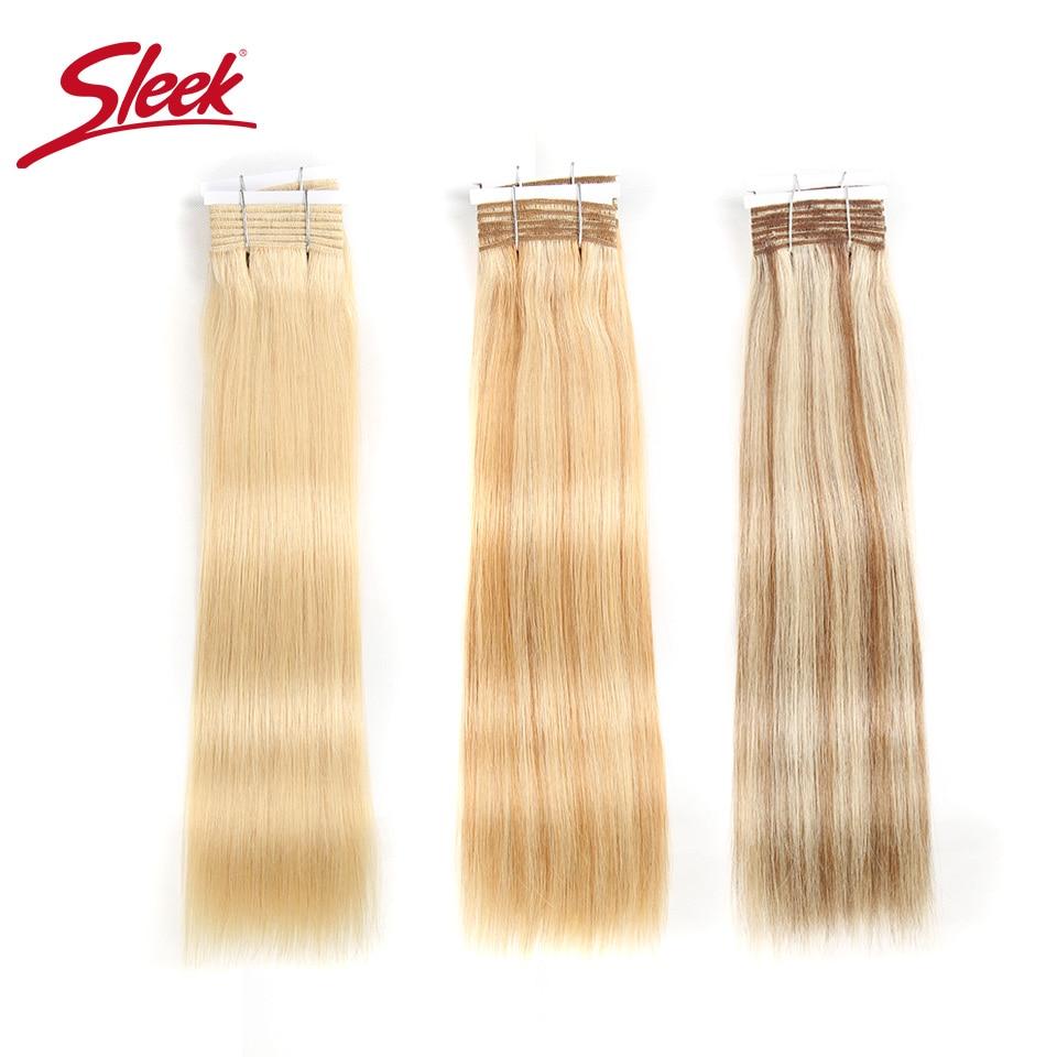 Sleek Pre-colored Brazilian Yaki Straight Remy Human Hair Weave Bundles 113 Gram Ombre Blonde Color 613 P6/613 P27/613