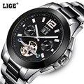 2016 LIGE Marca De Luxo Cerâmica Relógio Automático dos homens homens Moda Casual Negócios relógios de Pulso Dive 50 M Data Clcok reloj hombre