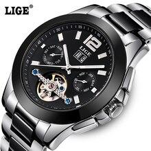 2016 Hommes de LIGE Marque De Luxe En Céramique Montre Automatique hommes Mode Casual Plongée 50 M Date Clcok D'affaires montres reloj hombre