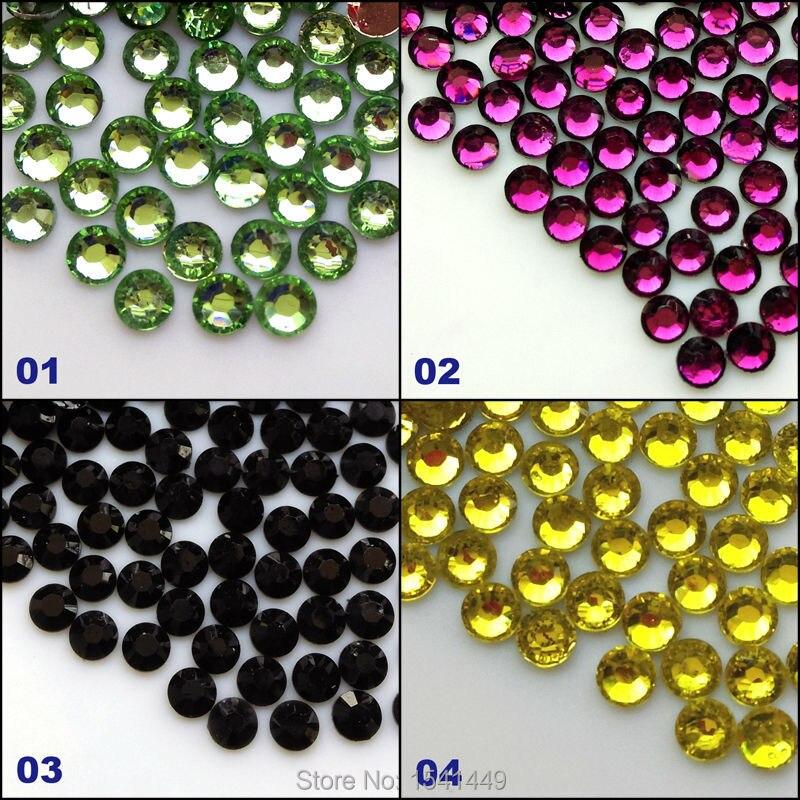 1000pcs/pack 3mm 14 Facets DIY Nail Art Resin  transparent Rhinestone Round Flat light green violet black lemon yellow 1#~4#