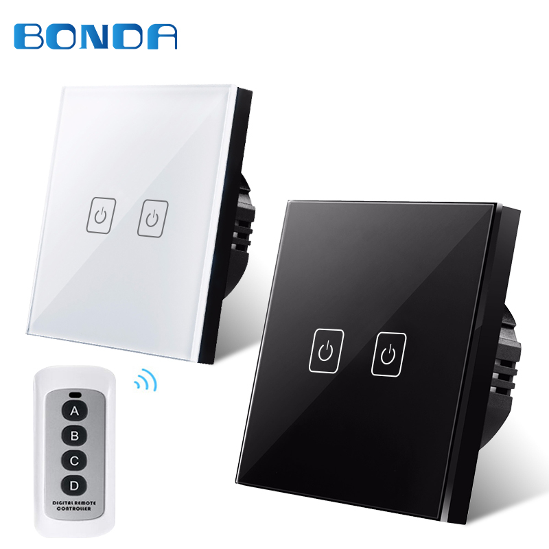 BondaEU estándar interruptores de Control remoto inalámbrico, 2 Gang 1 manera RF433 pared Control remoto Interruptor táctil para Smart Home