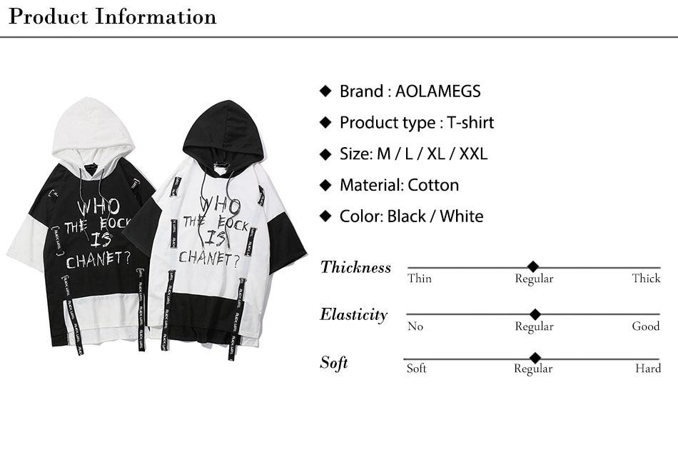 Aolamegs T Shirt Men Block Ribbon Hooded Men's Tee Shirts Short Sleeve T Shirt Fashion High Street Tees Hip Hop Streetwear (21)
