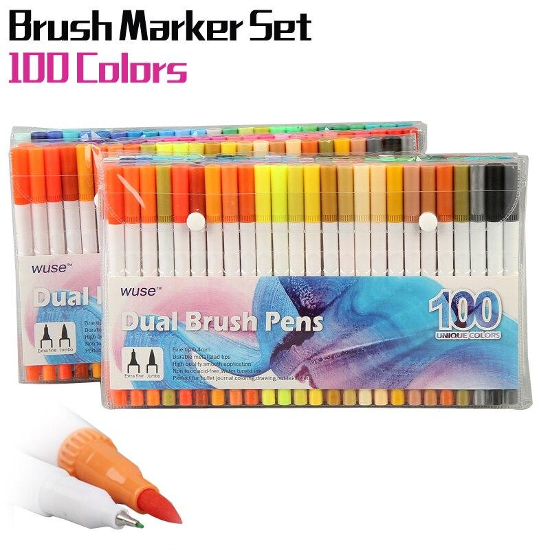 100 couleurs aquarelle pinceau stylo ensemble double pointe pinceau stylos dessin peinture croquis marqueur stylo aquarelle Manga couleurs artiste marqueurs