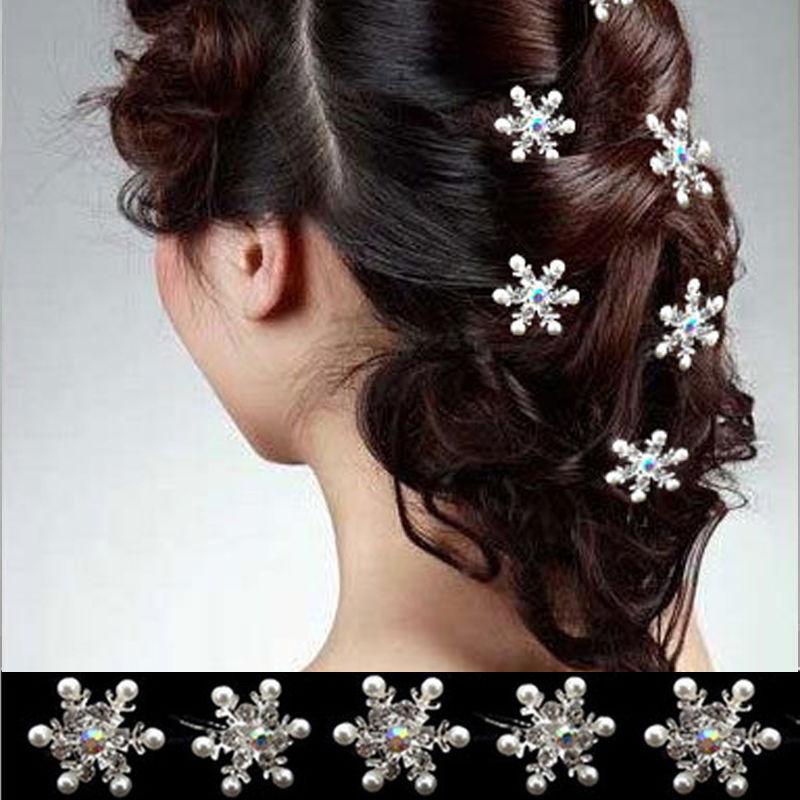 5PCS Lovely Pearl Snowflake Hair Clips Wedding Bridal Crystal Rhinestone HairPins Women Hair Jewelry