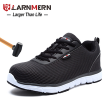 LARNMERN Mens Steel Toe Safety Work Shoes Lightweight Breathable Anti-smashing N