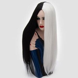 Image 3 - Yiyaobess 28 pollici della Parte Centrale Lungo Rettilineo Cosplay Parrucca Sintetica Dei Capelli di Colore Rosa Grigio Nero Bianco Rosso Ombre Donna Parrucche Per halloween