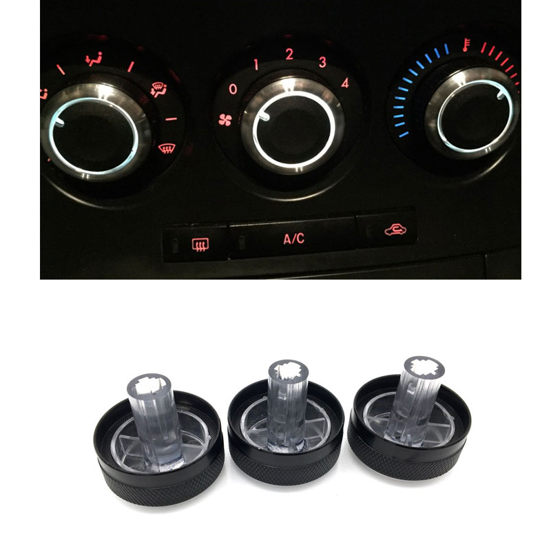 3pcs/set Aluminum Alloy Air Conditioning Knob AC Knob Heat Control Switch Button For Mazda 3 BL 2010- 2013 Mazda 3 2004-2009