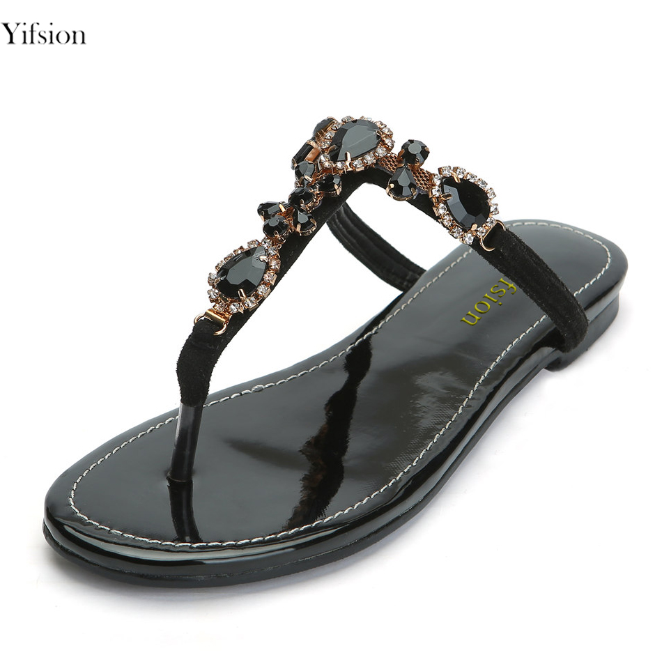 Yifsion New Women Slippers Ladies Gladiator Shoes Flip Flop Sexy Rhinestone Slippers Black Party Shoes Women