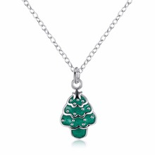 Classic White/Green Small Christmas Tree Necklaces Pendants for Women Fashion Jewlery Girl Christmas Gifts P062