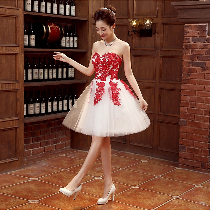 strapless dress bridemaid short red lace ivory summer bridesmaids ...
