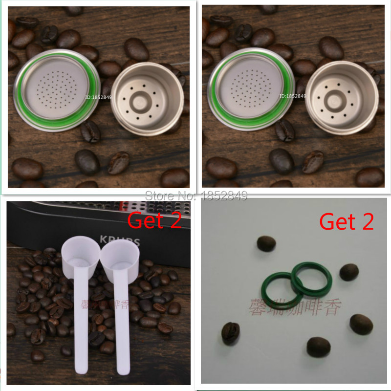 Free shipping 2PCS Nespresso Machine Compatible Stainless Steel Metal Capsule Refillable Reusable