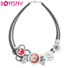 Bonsny Crystal Flower Collar Necklace Chain luxury Shell Choker Necklace Handmade Fashion Jewelry For Women 2016 News Brand(China)