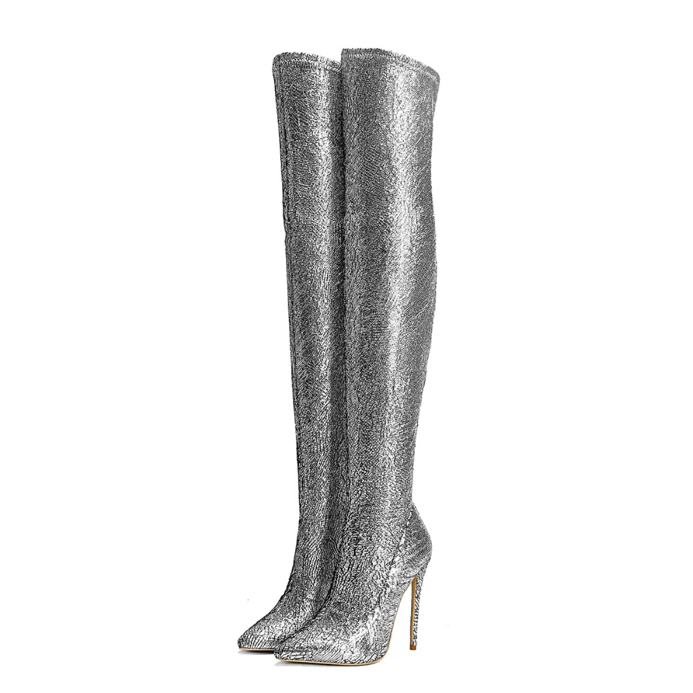 Fashion Long Boots Silver Pointed Toe High Heel Boots Sexy Over-the-knee Thin Heels Shoes Autumn Women Customzied Party Shoes 2018 sexy boots over knee high heel autumn winter fashion pointed toe thin heels thigh high long thin leg boots women nysiani