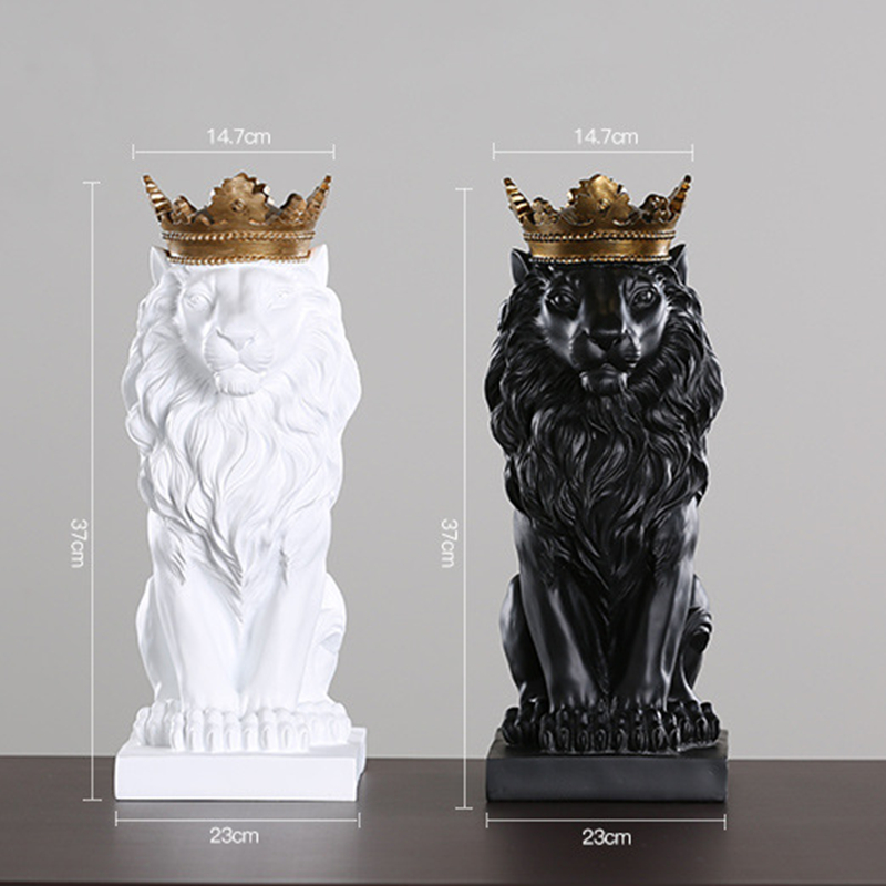 Image 5 - 2019 New Creative Modern Golden Crown Black lion Statue Animal 