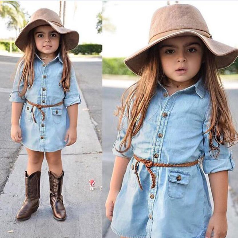 TELOTUNY Toddler Baby Girl Kid Spring Clothes Solid Print Shirt Dress Denim Party Dress DE08 Drop Shipping girl