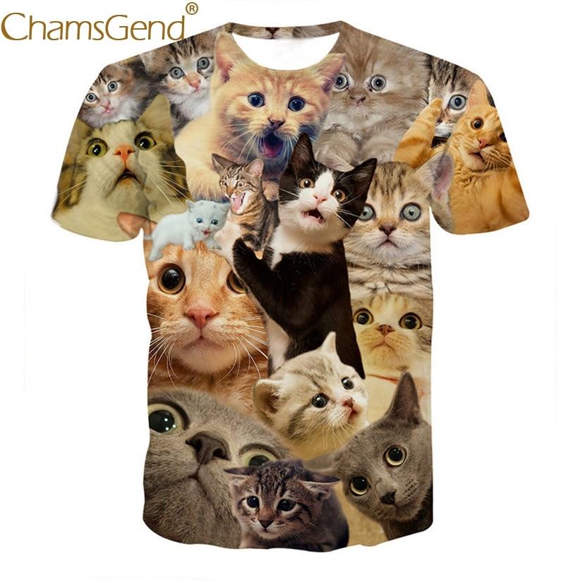 1eca2bdfa5f Chamsgend T Shirt Men's 3D Cats Print Funny Tees Tops Boys Summer Short Sleeve  Shirts 80119 ...