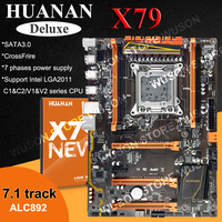 Hot selling HUANAN Deluxe X79 moederbord LGA2011 3 * PCI-E x16 slots 2 * SATA3.0 ondersteuning 4*16G geheugen 7.1 sound track crossfire