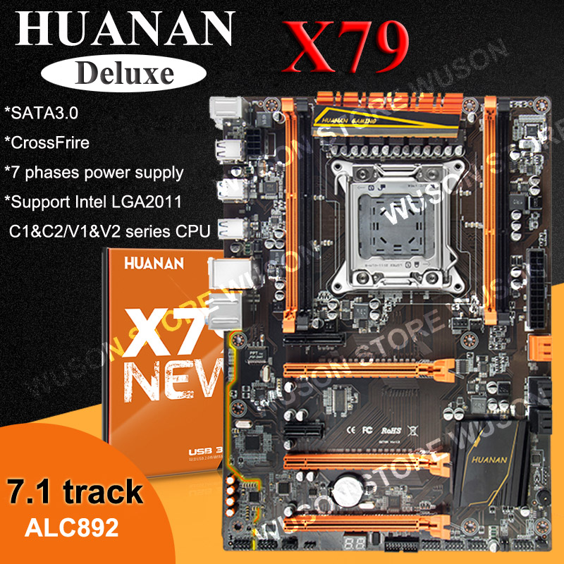 Venda quente Deluxe LGA2011 X79 motherboard HUANAN 3 * PCI-E x16 slots 2 * suporte SATA3.0 4*16G memória 7.1 trilha sonora de fogo cruzado