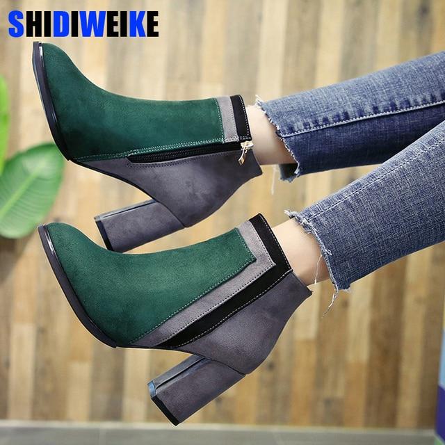 Botas mujer 2018 nieuwste gemengde kleur enkellaarsjes vrouwen dikke hoge hakken Chelsea laarzen dames patchwork winter martin laarzen N176