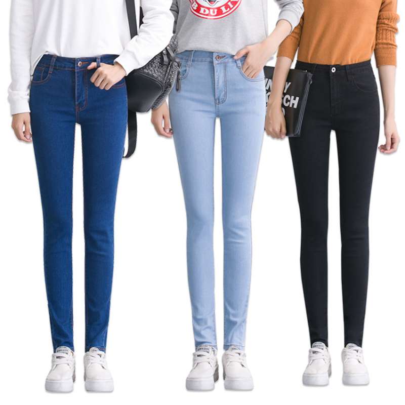 Skinny fit women's   jeans   with high waist Plus Size Denim Pants Trousers Pencil   Jeans   Light Drak Blue Gray Black white Washed