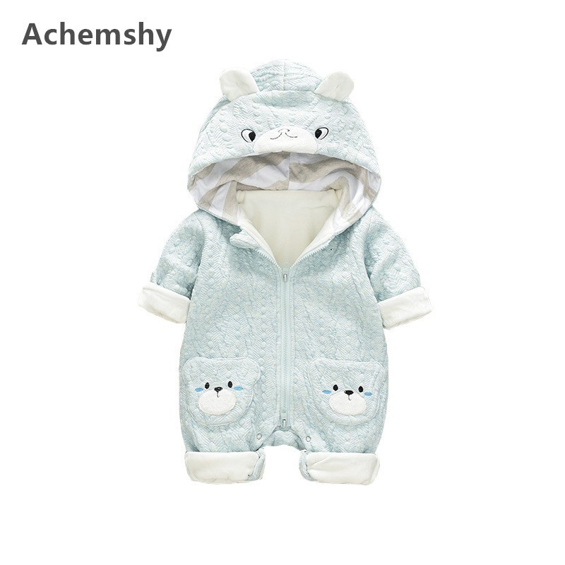 Autumn Winter Baby Clothes Infant Velvet Embroidered Cute Bear Hooded Romper Boys Girls Outwear Jumpsuit Soft Warm 2 Colors цена 2017