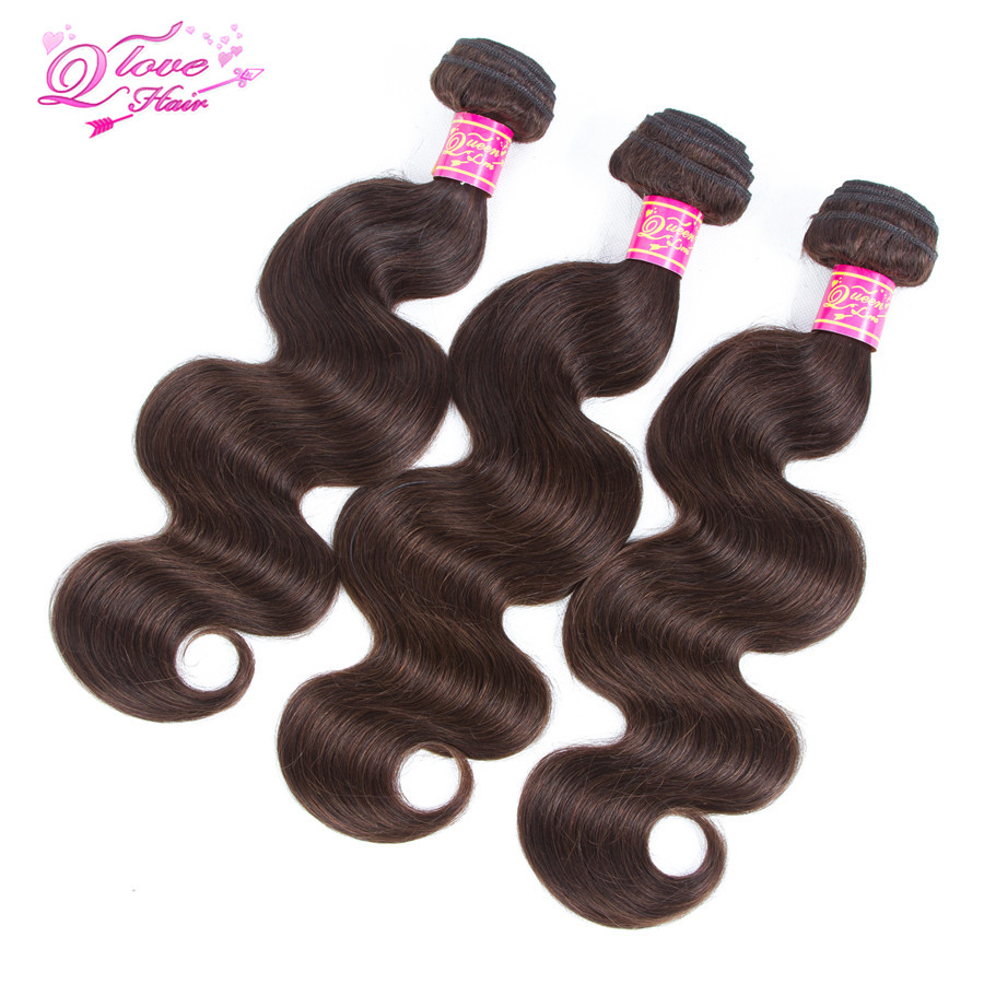 Queen Love Hair Pre-Colored Mongolian Body Hair Weave 3 Bundles Color 2 Dark Brown Colored Non-Remy Human Hair Extensions