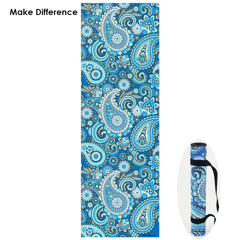 Make Difference Indian Floral Paisley Design Yoga Mats Non-slip Natural Rubber Fitness Exercise Gym Carpet Mats with Strap 3.5mm dmasun slip resistant yoga blanket good quality gymnastics yoga mat towel non slip fitness bikram towels