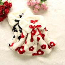 Fashion Baby Girls Floral Coat Warm Soft Faux Fur  Girls Winter Jackets And Coats Baby Jacket Children Outerwear Girl Clothing yb3184598585 2018 baby outerwear girls winter jackets girls jacket animal girl coat worm girl outerwear fashion