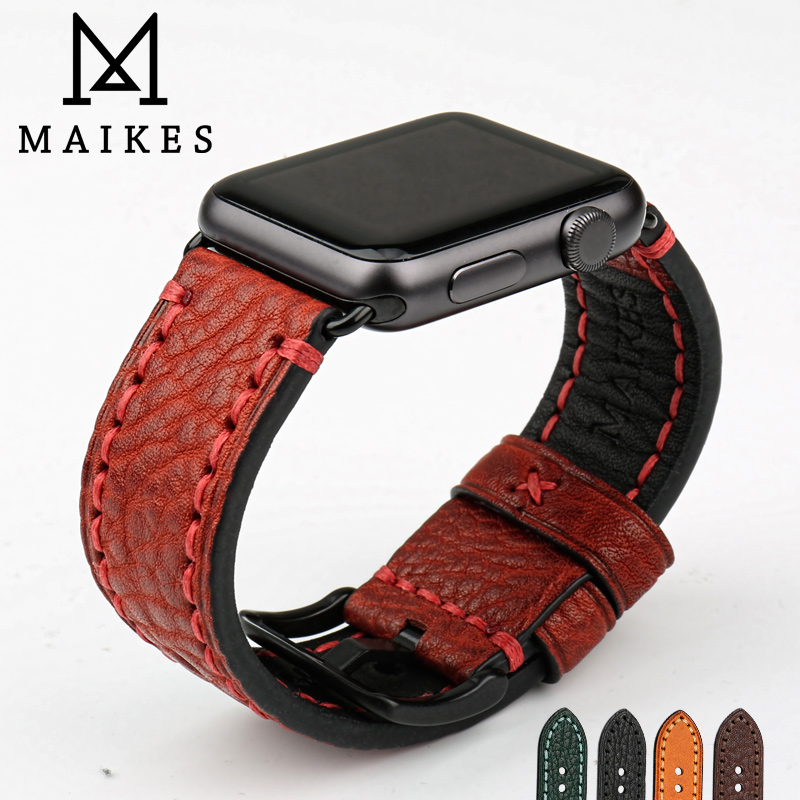 MAIKES Genuine Leather For Apple Watch Band 42mm 38mm & Apple Watch Strap 44m4 40mm Watch Accessories Watchband iWatch BraceletsMAIKES Genuine Leather For Apple Watch Band 42mm 38mm & Apple Watch Strap 44m4 40mm Watch Accessories Watchband iWatch Bracelets