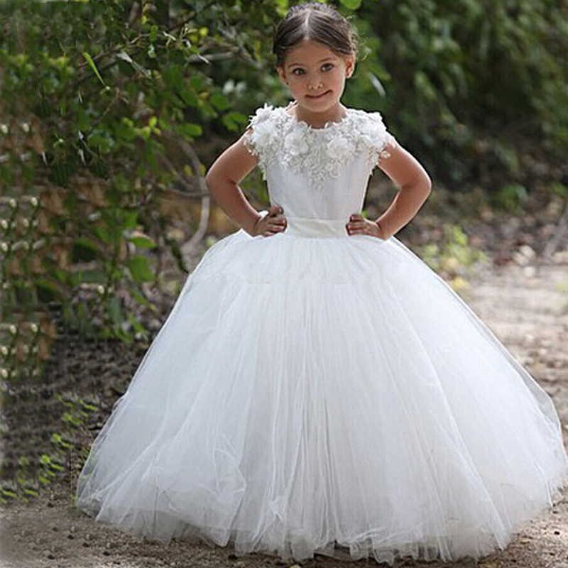 White/Ivory Cap Sleeves Ball Gown Puffy Lace Appliques   Flower     Girls     Dress   for Wedding Party First Holy Communion