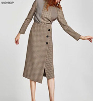 WISHBOP MỚI 2017 Woman Thời Trang Kiểm Tra Sarong Bọc Midi Váy Side Nút up Front Vent Elegant Asymmetric Bước Váy
