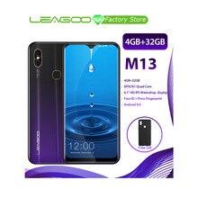 """100% 기존 LEAGOO M13 안드로이드 9.0 19:9 6.1 """"스마트 폰 4GB 32GB MT6761 쿼드 코어 지문 Id 4G LTE 휴대 전화"""