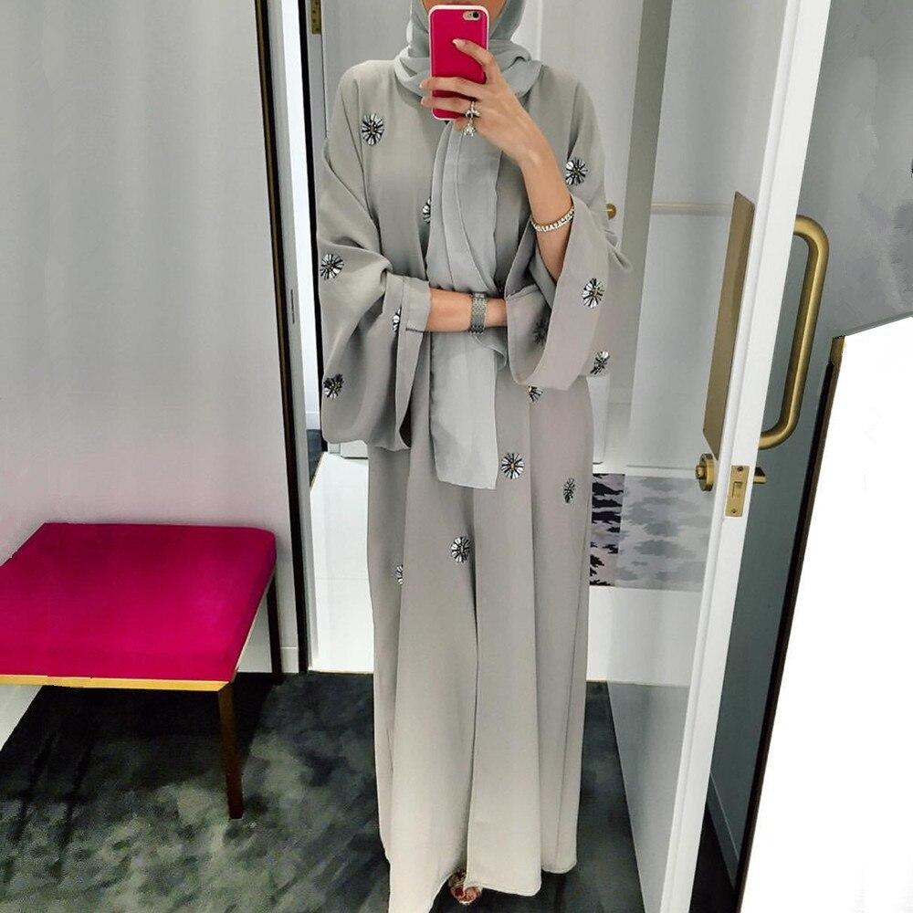 Beading Opened Abaya Muslim Cardigan Dress Female Fashion Katfan Abaya Dubai Kimono Islamic Abaya Wq1484 Prayer Service Clothing