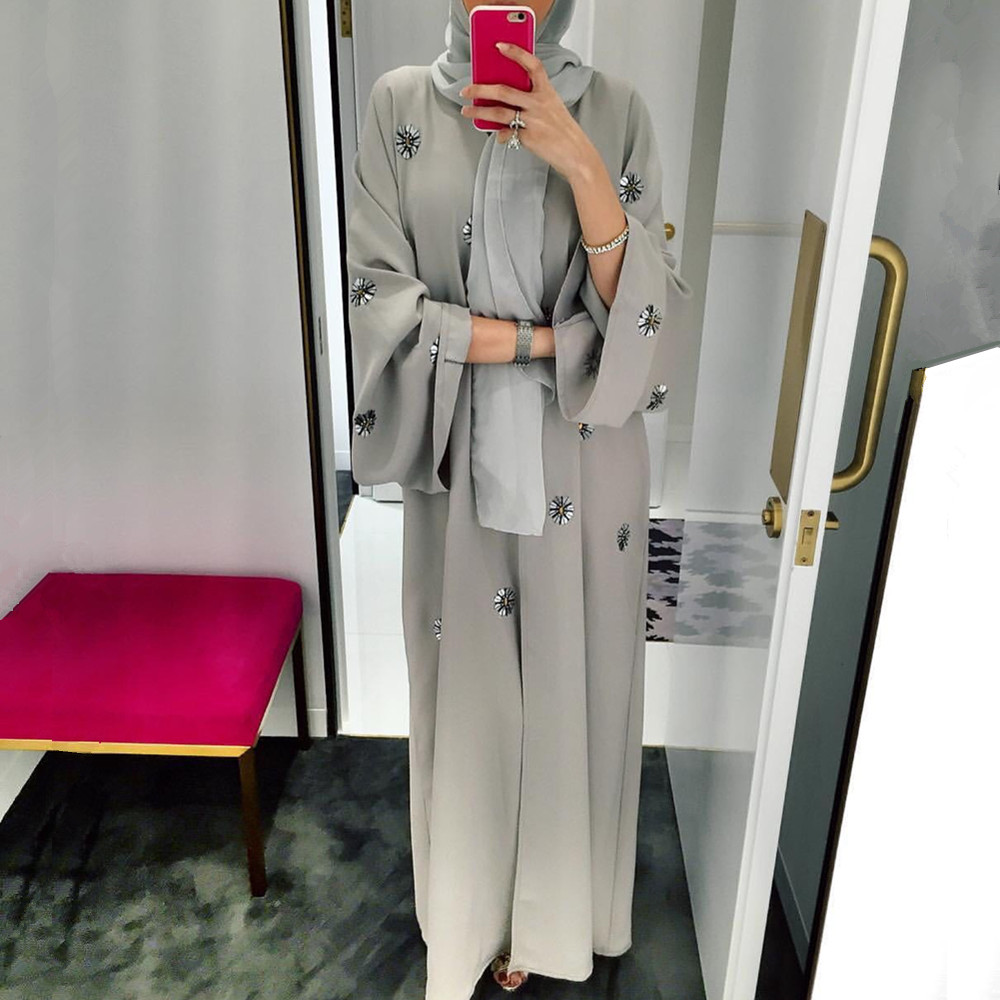 Hand Made Sequined Beading Opened Abaya Muslim Dress Female Fashion Katfan Dubai Kimono Islamic Abaya Prayer Service Clothing