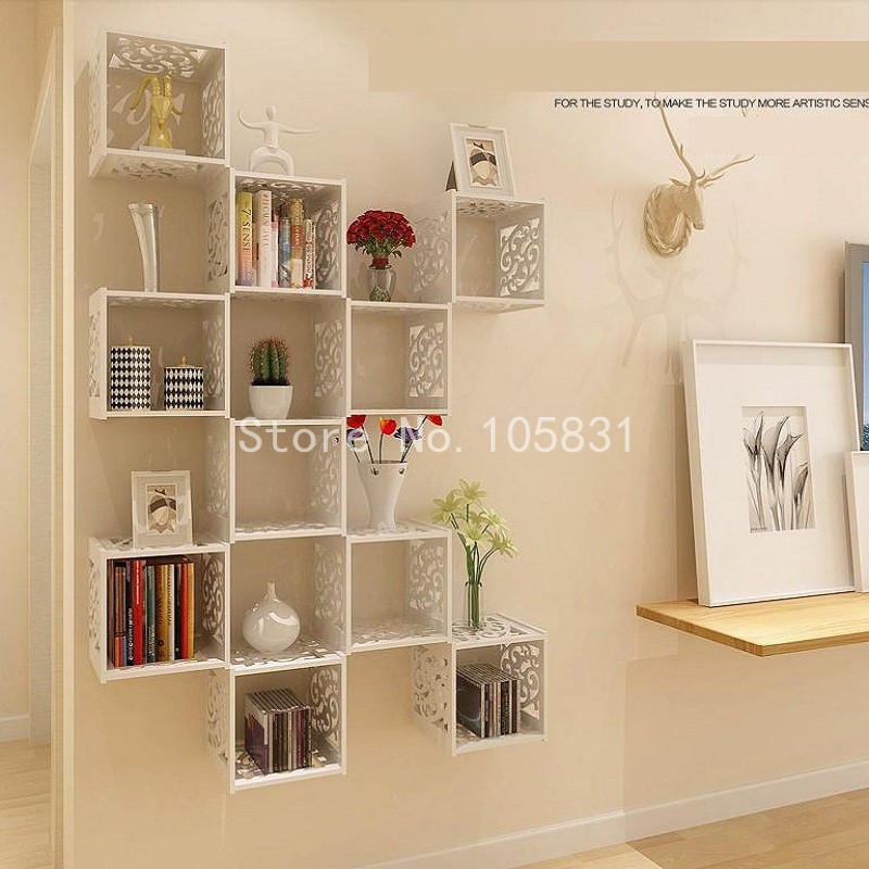 Avoid holing creative carve designs wall storage rack Fashion wood plastic  hollow out wall hanging decoration