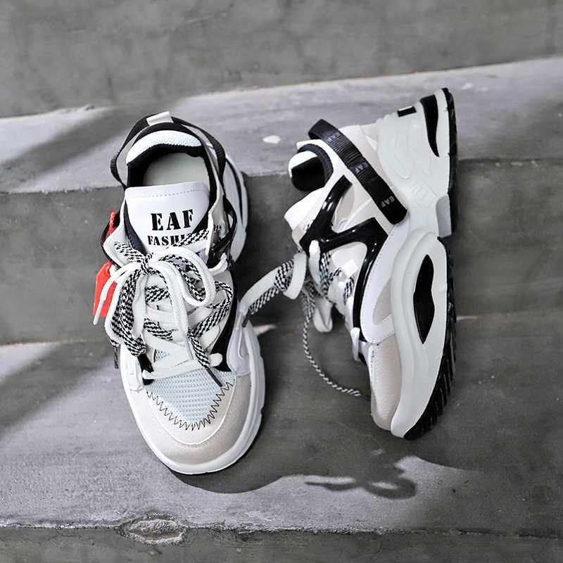 Şık Kadın Ayakkabı Artan INS Ulzza Harajuku Sneakers Yastıklama Yüksekliği Platformu Nefes Dalga Spor Yürüyüş