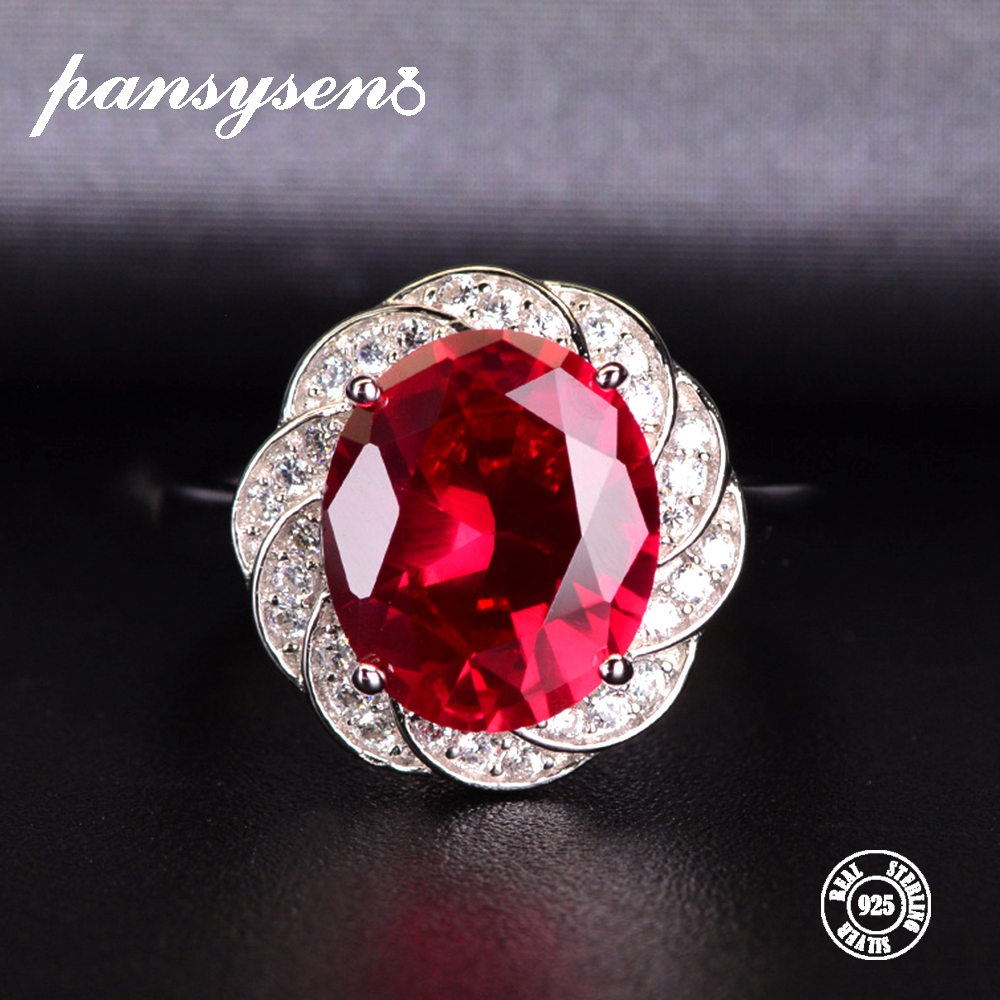 PANSYSEN Natural Ruby Open Adjustable Rings For Women 100% Real 925 Sterling Silver Luxury Gemstone Jewelry Ring Wedding Gifts