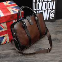 Classic Crazy Horse PU Leather Briefcase Men S Business Zipper Bags High Quality Messenger 14inch Laptop